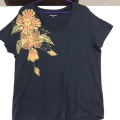 Black T-Shirt with Hand Painted Flowers on The Right Shoulder
