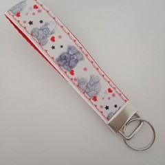 Teddy bear key fob wristlet