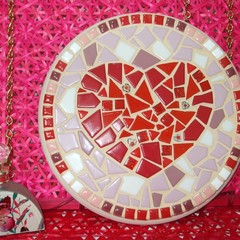 Mosaic Red Heart in a  Circle
