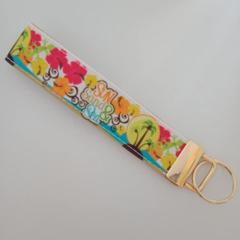 Sun sand and sea print key fob wristlet