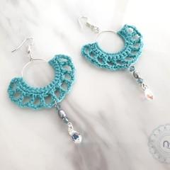 Custom Colour Boho Crochet Hoop Dangling Earrings with Swarovski & Pearl