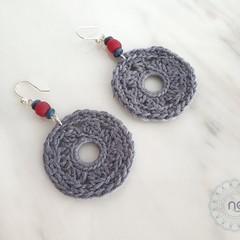 Mandala Circle Dainty Dangle Earrings with Fair Trade Beads - Customised Colour