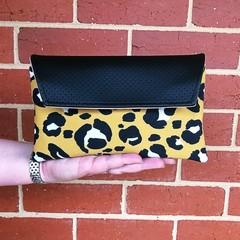 Envelope Clutch - Black Leopard