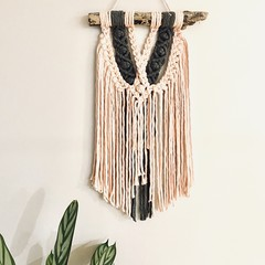 Pink crossover macrame wall hanging