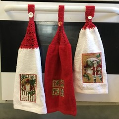 Christmas Crotcheted Top Kitchen towel