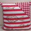 Red and White Cotton Cushion On SALE