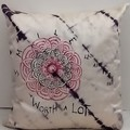 Red and Black Mandala on Silk Cushion XMas Gift for Home