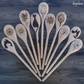 Wood Burnt Flower Wooden Spoon
