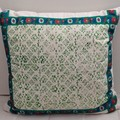 Grass green Block printing on Cotton Cushion, ON SALE