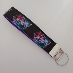 Black and purple butterfly key fob wristlet