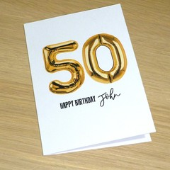 Personalised Birthday card - gold foil balloons - any age