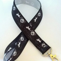 Black and white horse and carriage print lanyard / ID holder / badge holder