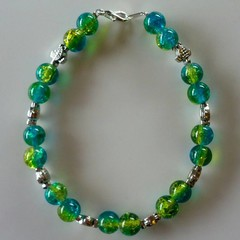 Blue and green turtle beaded bracelet