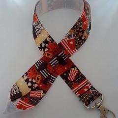 Black and red movie print lanyard / ID holder / badge holder