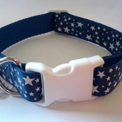 Blue and white star print adjustable dog collars