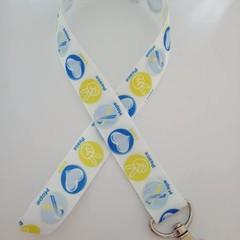 Blue and yellow peace love and hope print lanyard / ID holder / badge holder
