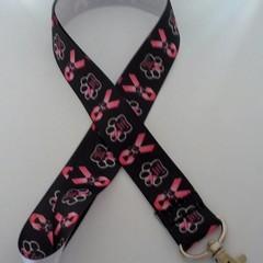 Black and pink charity ribbon dog lanyard / ID holder / badge holder