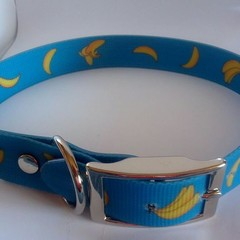 Blue banana print pvc dog collars