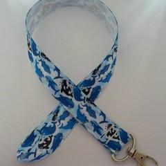 Black and blue whale print lanyard / ID holder / badge holder
