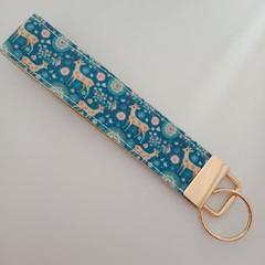 Blue and beige deer print key fob wristlet