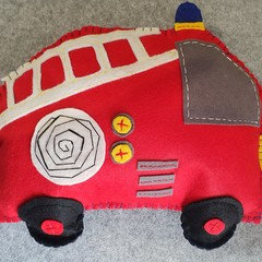 Red Felt Fire Engine Cushion