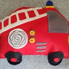 Red Felt Fire Engine Cushion