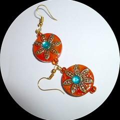 Orange and aqua blue wooded earrings