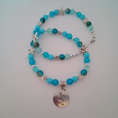 Blue and silver beach themed charm necklace