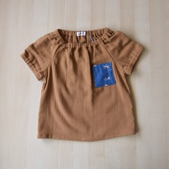Size 3/Pocket Blouse/Boy Girl/Toddler/Baby/ -Holiday Swimming-Brown