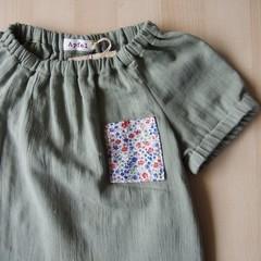 Size 18M/Pocket Blouse/Boy Girl/Toddler/Baby/ -Liberty flower-Sweet pea