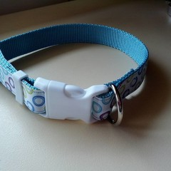 Blue and green circle print adjustable dog collar medium