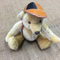 Small Mohair Teddy Bear with Leather Cap and Backpack