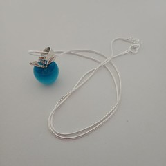 Blue apple charm silver necklace