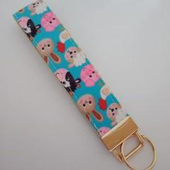 Blue animal print key fob wristlet