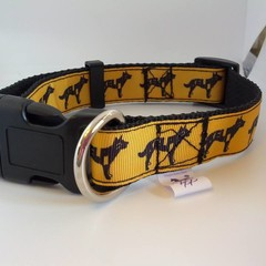 Black and yellow kelpie print adjustable dog collars