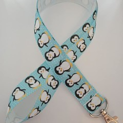 Blue and white penguin lanyard / ID holder / badge holder