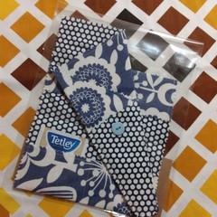Handy Tea Bag Wallet & Scissor Holder gift set-Modern blue floral and polkadots