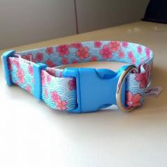 Blue and pink flower print adjustable dog collar medium
