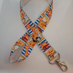 Blue and yellow dog print lanyard / ID holder / badge holder