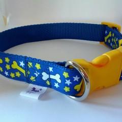 Blue and yellow bone and star adjustable dog collars
