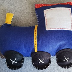 Blue Felt Train Cushion