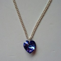 Blue AB crystal heart necklace with silver chain
