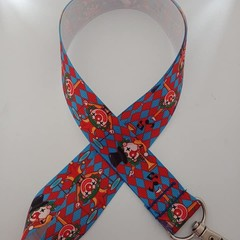 Blue and red clown / circus print lanyard / ID holder / badge holder
