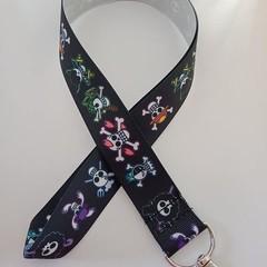 Black skull / pirate print lanyard / ID holder / badge holder