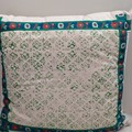 Grass green Block printing on Cotton Cushion, XMas Gift for Home