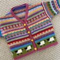 Pink sheep Cardigan  -  Size 6-12 months - Hand knitted