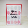 Red and Grey Birthday Card, Balloons, Happy Birthday to you