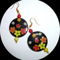 Black floral earrings.