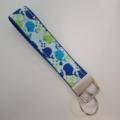 Blue and green whale print key fob wristlet