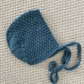 Teal textured  bonnet  - size 6-12 months  Hand knitted  Wool cashmere